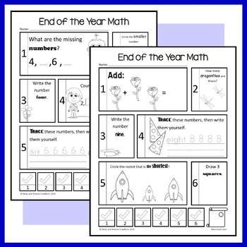 End of the Year No Prep Common Core Math (kindergarten) Distance Learning
