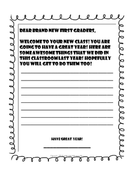 End of the Year Notes to Welcome Next Year's Class