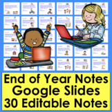 End of the Year Notes Distance Learning Editable Google Sl