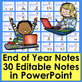 End of the Year Notes Distance Learning Editable PowerPoint
