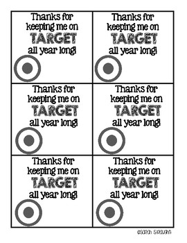 """End of the Year """"On Target"""" Gift Tags"""