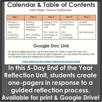 End of the Year Activities with a One-Pager Reflection for English Courses