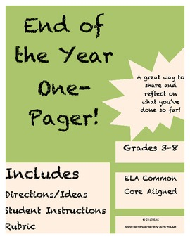 End of the Year One-Pager