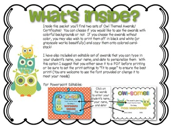 End of the Year Owl Themed Award Certificates {Editable}