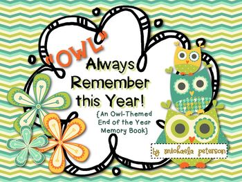 End of the Year Owl Themed Memory Book