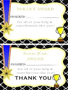 End of the Year PARENT AWARD and Room Mom Award *UPDATED*