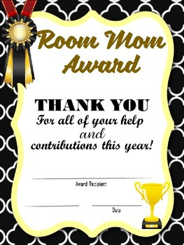 End of the Year PARENT AWARD and Room Mom Award