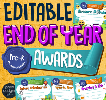 End of the Year PRE-KINDERGARTEN Student Superlative Awards Certificates