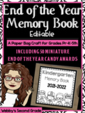 End of the Year Paper Bag Memory Book Pre-K-5th with 30 Mi