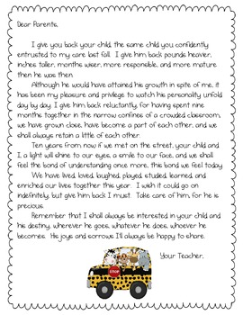 End of the Year Parent Letter by Randi Teachers Pay Teachers