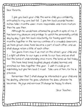 End of the Year Parent Letter by Randi | Teachers Pay Teachers