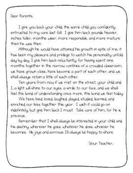 End Of The Year Parent Letter