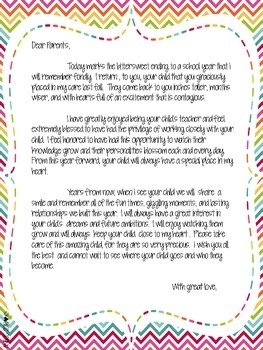 End of the Year Parent Letter Set
