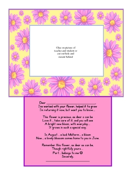 End of the Year - Parent Poem - Saying Goodbye