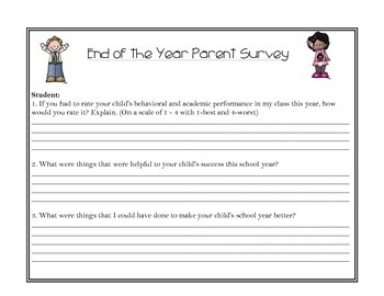 End of the Year Parent Survey w/ Letter