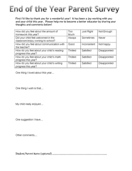 End of the Year Parent Survey