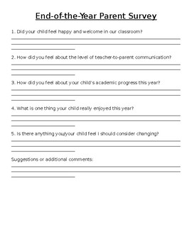 End-of-the-Year Parent Survey