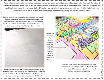 End of the Year Partner Poster: 4th Grade Memories: 4-Panel Collaboration Poster