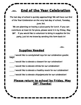 End of the Year Party Letter