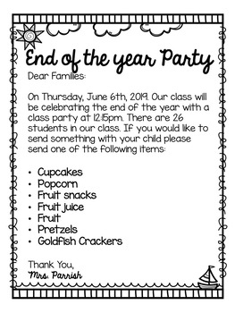 End Of The Year Party Letter Editable By Classroom Full Of
