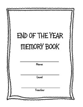 End of the Year Piano Lessons Memory Book