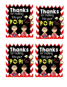 End of the Year PoPcOrN Goody Bag Tags