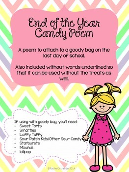End of the Year Poem With Candy Theme (Can be used without candy too)