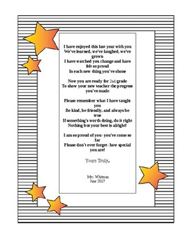End of the Year Poem for Students