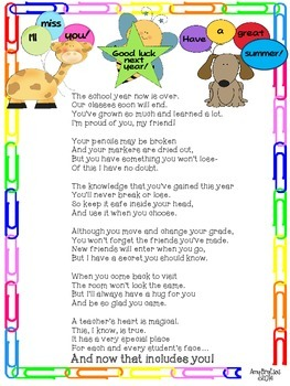 End of the Year Poem from the Teacher to each Student