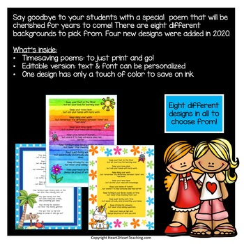 End of the Year Poem to My Students - Editable