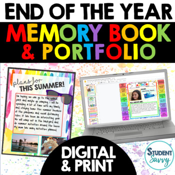 Digital Memory Book End of the Year Distance Learning