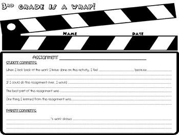 End of the Year Portfolio Reflection Sheet- FREEBIE- Any Grade