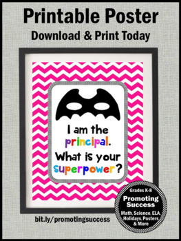 End of the Year Principal Appreciation Gift, Superpower Sign 8x10 or 16x20