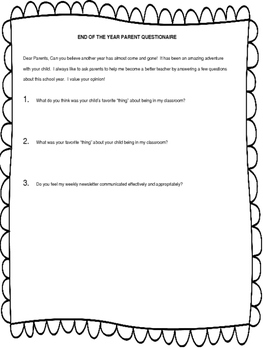 End of the Year Questionaire
