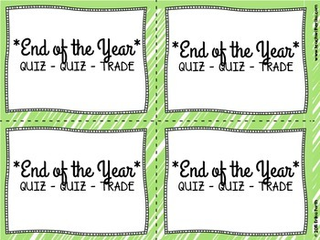 End of the Year Quiz Quiz Trade Cards {Set of 32}