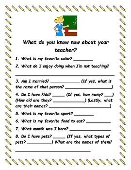 End of the Year Quiz- What do you know about your teacher?
