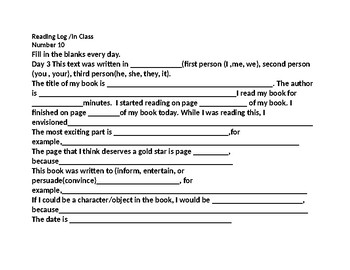 End of the Year Reading Log