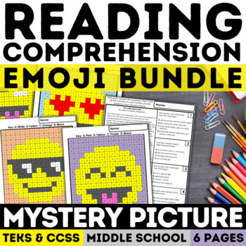 End of the Year Reading Skills Mystery Picture Emoji Bundle