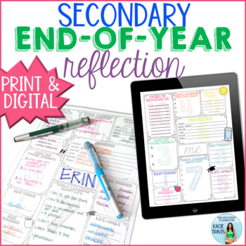 End of the Year Reflection Activity for Secondary Students EDITABLE