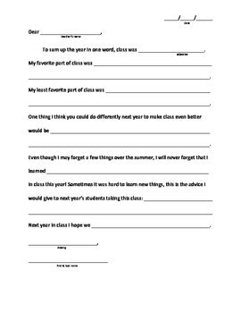 End of the Year Reflection Letter