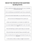 End of the Year Reflection Questions
