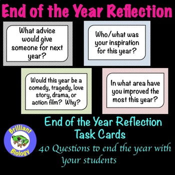 End of the Year Reflection Task Cards