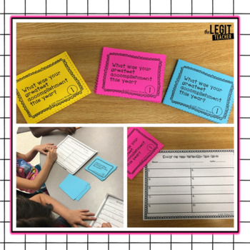 End of the Year Reflection Task Cards- {Includes Editable Task Card Template}