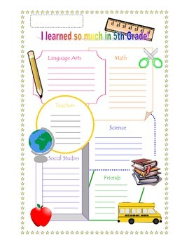 End of the Year Reflection and Poster, Fifth Grade