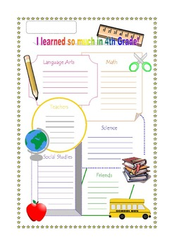 End of the Year Reflection and Poster, Fourth Grade