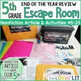 End of the Year Review ESCAPE ROOM for Reading Informational Text 5th Grade