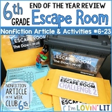 End of the Year Review ESCAPE ROOM for Reading Informational Text 6th Grade