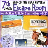 End of the Year Review ESCAPE ROOM for Reading Informational Text 7th Grade