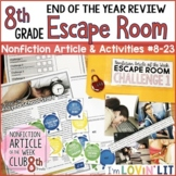 End of the Year Review ESCAPE ROOM for Reading Informational Text 8th Grade