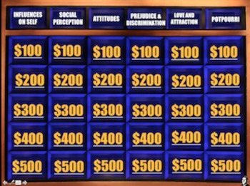 End of the Year Review for Social Psychology - Psycho Jeopardy!